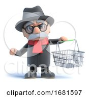 Poster, Art Print Of 3d Old Man With Shopping Basket
