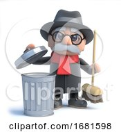 Poster, Art Print Of 3d Old Man Takes Out The Trash