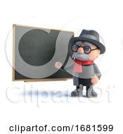 3d Old Man Teaches At The Blackboard
