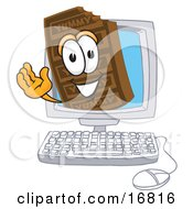 Clipart Picture Of A Chocolate Candy Bar Mascot Cartoon Character Waving From Inside A Computer Screen by Toons4Biz