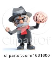 Poster, Art Print Of 3d Cartoon Old Man Character Holding A Human Brain