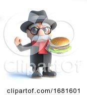 Poster, Art Print Of 3d Grandpa Has A Burger