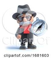 Poster, Art Print Of 3d Grandpa Holding A Compass