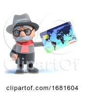 Poster, Art Print Of 3d Old Man Using A Credit Card