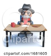 Poster, Art Print Of 3d Old Man Sitting At A Desk