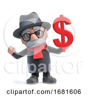 Poster, Art Print Of 3d Funny Cartoon Old Man Character Holding A Us Dollar Currency Symbol