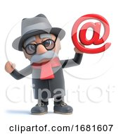 3d Funny Cartoon Old Retired Gentleman Character Holds An Email Address Symbol