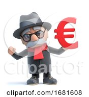 Poster, Art Print Of 3d Funny Cartoon Old Man Character Holding A Euro Currency Symbol