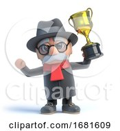 Poster, Art Print Of 3d Old Man Wins The Gold Cup Trophy