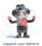 Poster, Art Print Of 3d Old Man Is Cheering