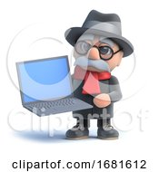 Poster, Art Print Of 3d Old Man Holding A Laptop