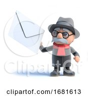 Poster, Art Print Of 3d Old Man Has Mail