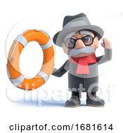 Poster, Art Print Of 3d Old Man Holds Out A Life Belt