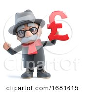 Poster, Art Print Of 3d Funny Cartoon Old Man Character Holding Uk Pounds Sterling Symbol