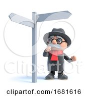 Poster, Art Print Of 3d Old Man Looks At A Road Sign