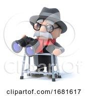 3d Grandpa With Walking Frame Looks Through Binoculars