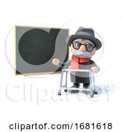 3d Grandpa With Walking Frame Stands By The Blackboard