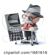 3d Grandpa With Walking Frame Uses A Calculator