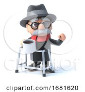Poster, Art Print Of 3d Grandpa Has A Cup Of Coffee