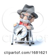Poster, Art Print Of 3d Old Man And Walking Frame With Compass