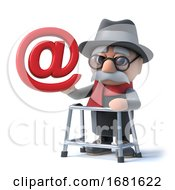 Poster, Art Print Of 3d Funny Cartoon Old Man With Walking Frame Holding An Email Address Symbol