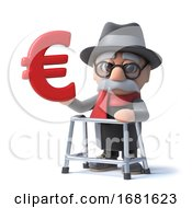 Poster, Art Print Of 3d Funny Cartoon Old Man With Walking Frame Holding A Euro Currency Symbol