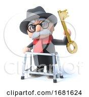 Poster, Art Print Of 3d Grandpa Has A Golden Key