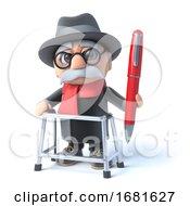 Poster, Art Print Of 3d Grandpa Holding A Pen