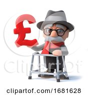 Poster, Art Print Of 3d Old Man With Walking Frame Holds A Uk Pounds Symbol