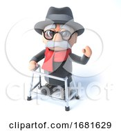 Poster, Art Print Of 3d Grandpa With His Walking Frame Waving Hello
