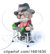 3d Grandpa With Walking Frame Playing A Video Game