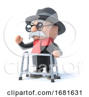 3d Grandpa With His Walking Frame Waves To The Right