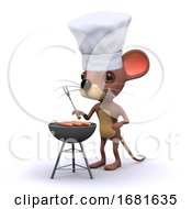 3d Mouse Cooks A Barbeque