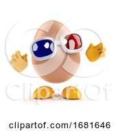 Poster, Art Print Of 3d Egg Watches A 3d Movie