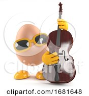Poster, Art Print Of 3d Egg Playing A Double Bass