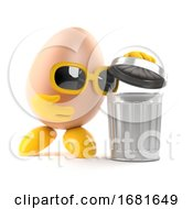 3d Egg Looks In The Trash Can