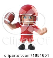 3d American Footballer Holds Up A Football