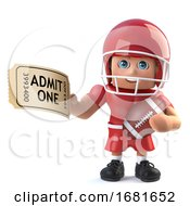 3d Funny Cartoon American Football Player Has A Ticket For Admission