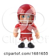 3d American Footballer Stands Ready