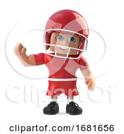 3d American Footballer Waves Hello