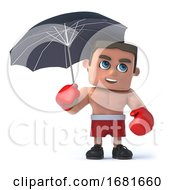 3d Boxer Under An Umbrella