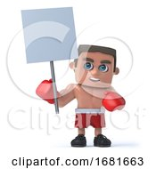 3d Boxer Holds Up A Blank Placard