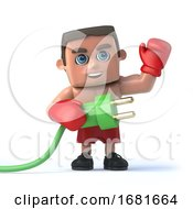 3d Boxer Holds A Green Power Lead
