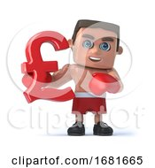 3d Boxer Holds A UK Pounds Sterliing Currency Symbol