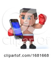 3d Boxer With His Smartphone Tablet Device