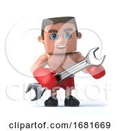 3d Boxer With A Spanner by Steve Young