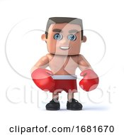 3d Boxer Wears Red Boxing Gloves And Shorts