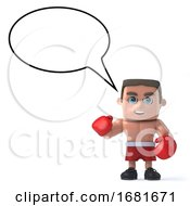 3d Boxer With Speech Bubble