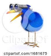 Poster, Art Print Of 3d Blue Bird Binoculars