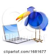 3d Bluebird With A Laptop Pc
